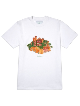 Printed cotton t-shirt WHITE MAISON ORANGE