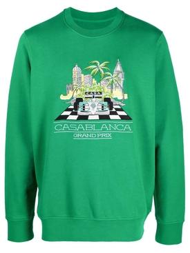 Finish Line Large Embroidered Sweatshirt Green