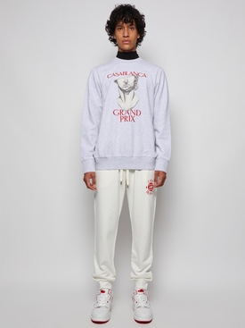 Grand Prix Print And Embroidered Sweatshirt Grey Marl