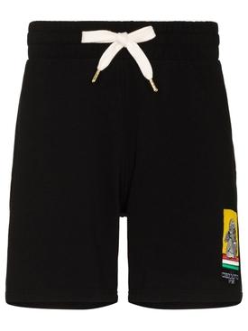 Embroidered Sweatshort Black Racing Cherub