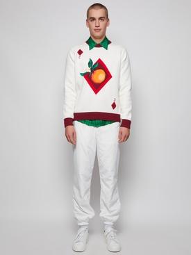 Orange Card Intarsia Sweater White