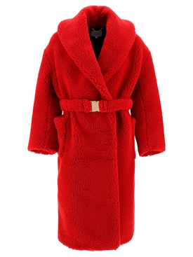 Recycled Polyester Shearling Robe Red