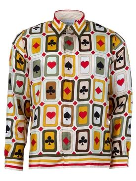 Silk Card Check Print Shirt