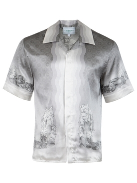 Silk Cuban Collar Statue and Waves Print Short-sleeve Shirt