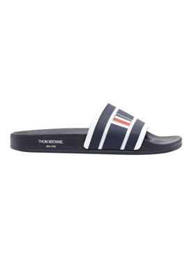 4-bar stripe slide sandal, charcoal