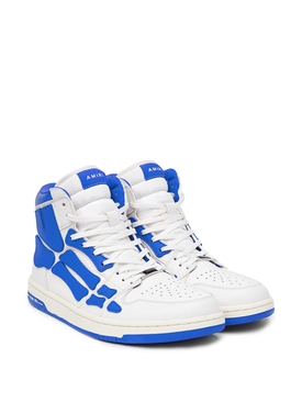 Skeleton High Top B Ball Sneakers White and Blue