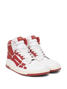 SKEL TOP HI SNEAKER WHITE AND RED