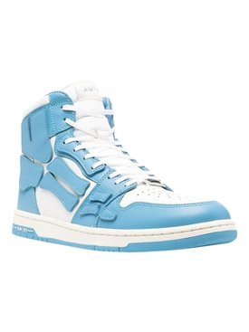 Skeleton High-Top Sneaker, Powder Blue and White