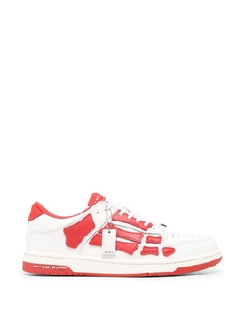 Skelleton Low Top Sneakers White And Red