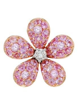 Pink Sapphire & Diamond Flower Earring