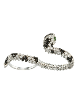 Black And White Diamond Snake Ring