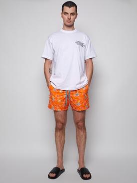 Mistral Floral Apricot Print Swim Trunks Orange