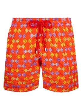 Orange fish print swim trunks
