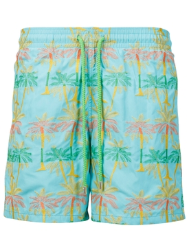 PALM TREE PRINT SWIM TRUNKS BLUE