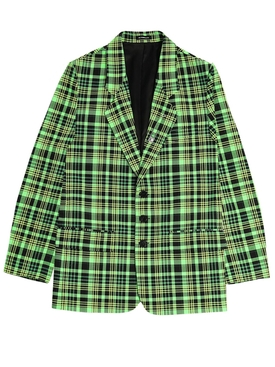 Green and Black Check Print Blazer Jacket