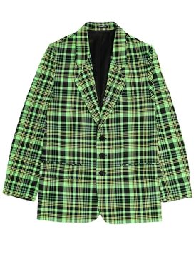Green Check Print Blazer Jacket