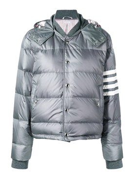 4-Bar Striped Puffer bomber jacket, GREY