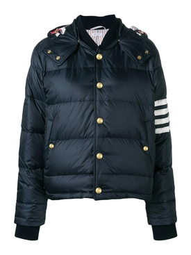 4-Bar Striped Puffer bomber jacket, NAVY