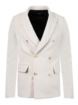 Boiled Wool Double Breasted Jacket Alabaster