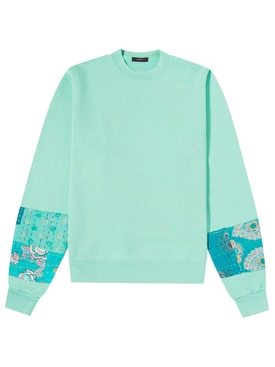 QUILTED ART PATCH SWEATSHIRT MINT GREEN