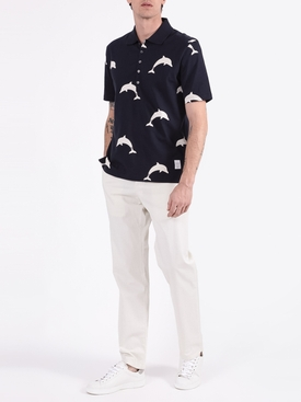 Navy dolphin print polo shirt