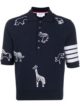 Navy Animal Motif Polo
