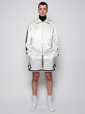 Sateen Track Jacket WHITE AND BLACK