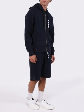 4-BAR DRAWCORD ZIP-UP HOODIE NAVY
