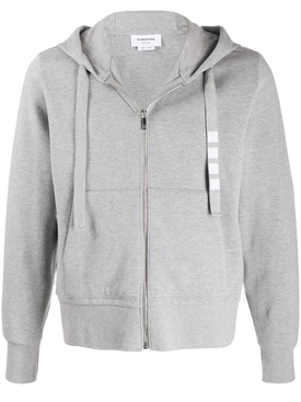 4-BAR DRAWCORD ZIP-UP HOODIE LIGHT GREY