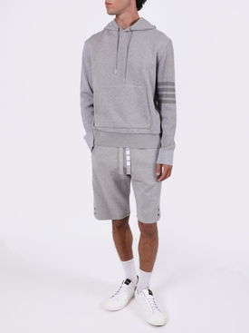 4-BAR SLEEVE HOODED SWEATSHIRT LIGHT GREY