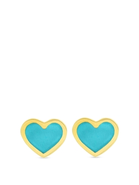 18K YELLOW GOLD EXTRA SMALL TURQUOISE INLAY HEART STUDS