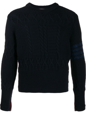 Merino Wool Aran Jumper NAVY