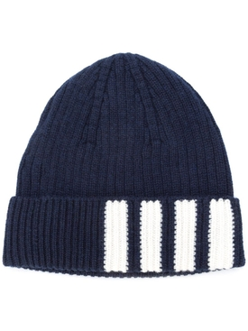 Cashmere Rib Hat With 4 Bar NAVY