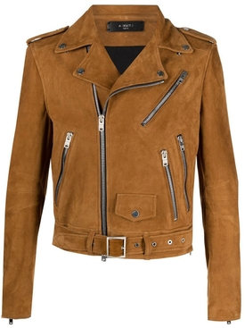 Suede Leather Biker Jacket, Tobacco