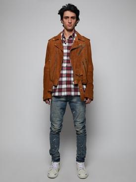 Suede Leather Biker Jacket, Tobacco