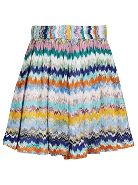 Multicolored High-waisted Chevron Knit Shorts
