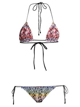 Multicolored Triangle Knit Bikini