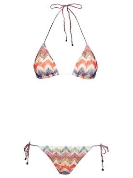 Multicolored Chevron Print Triangle Bikini