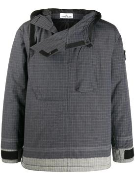grey hooded grid-print jacket