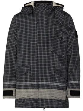 Black Check Print Hooded Jacket