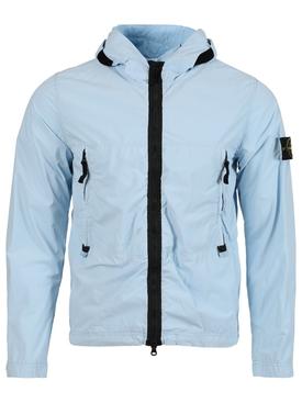 Zipped hooded jacket SKY BLUE