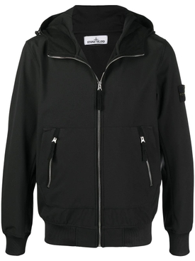 logo-patch hooded jacket BLACK