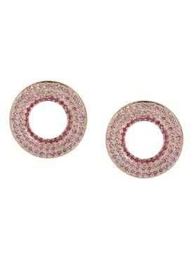 Modernist Circular Earrings Pink Sapphire