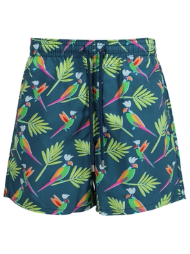 Multicolored parrot print moorea swim trunks