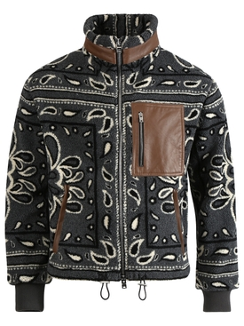 Bandana print jacket, black