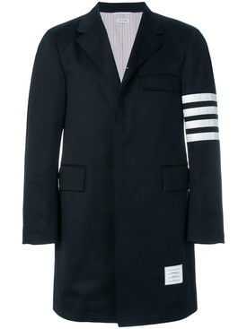 Unconstructed 4-Bar Stripe Classic Chesterfield Overcoat