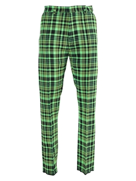 Green and Black Check Print Pants