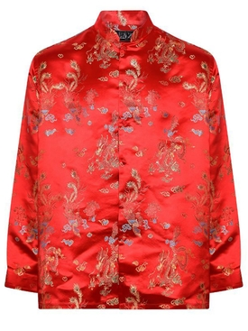 Embroidered Print Button-Down Shirt RED BIRD