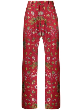 Floral dragon print pants RED BIRD