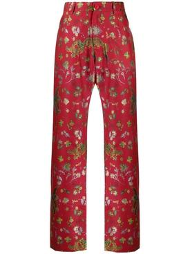Floral dragon print pants RED BIRD